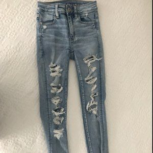American Eagle Light Washed Ripped Jeans
